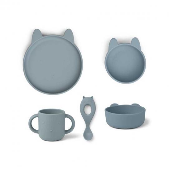 Set de vaisselle en silicone Vivi - Lapin bleu