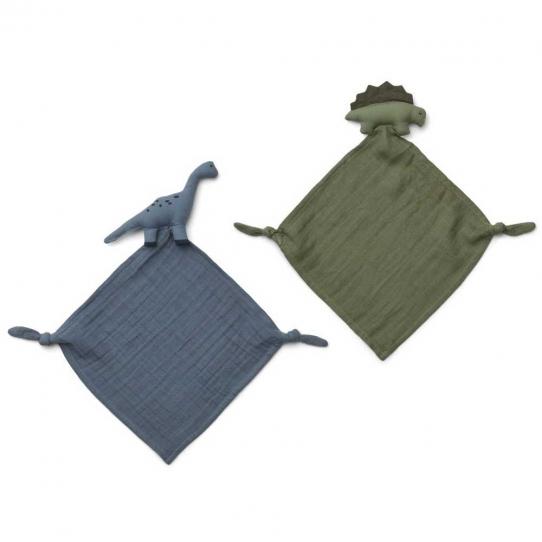 Mini Doudou Lange Dino x2 - Bleu et kaki