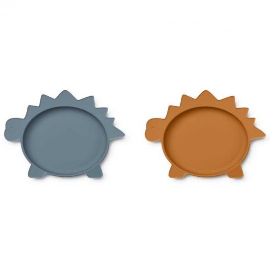 Assiette en silicone x 2 - Dino Bleu et moutarde