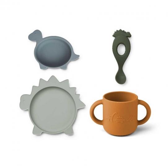 Set de vaisselle en silicone Vivi - Dino bleu