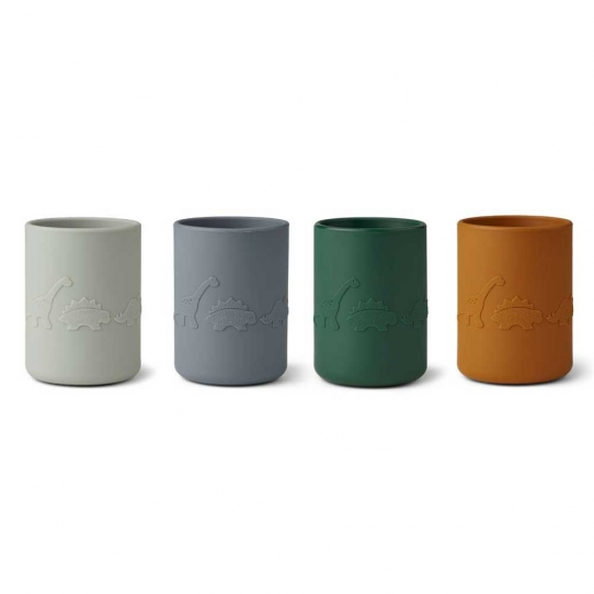 4 Tasses en silicone - Dino Bleu