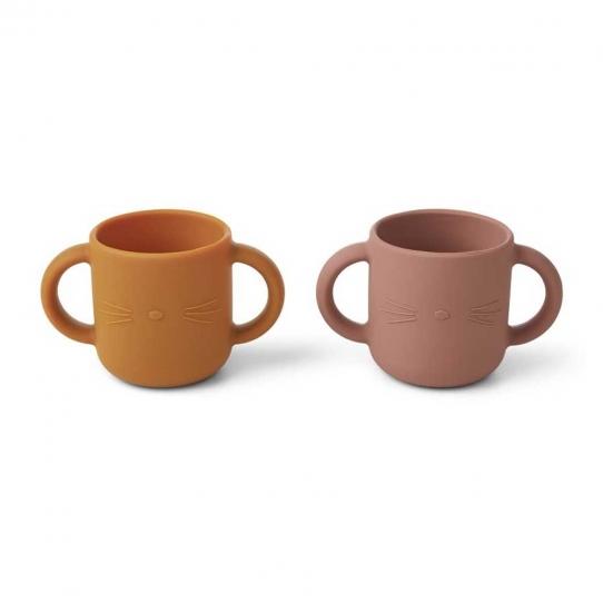 2 Tasses en silicone avec anses - Chat rose et moutarde