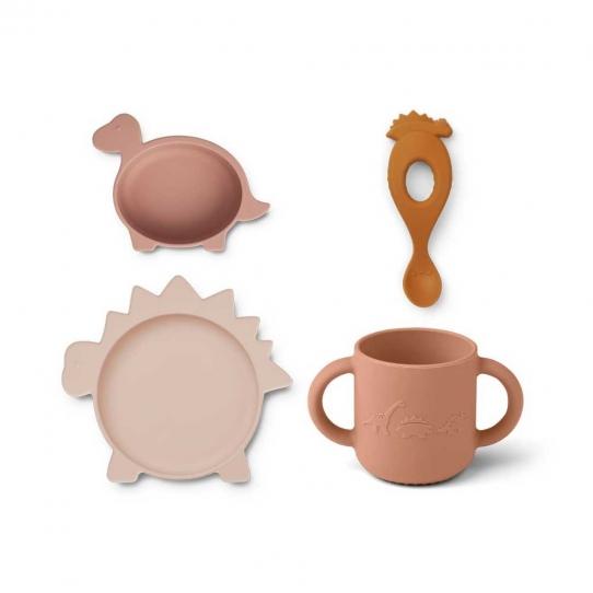 Set de vaisselle Vivi - Dino rose