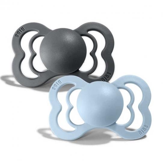 2 Tétines Suprême Silicone - Gris iron et Bleu layette