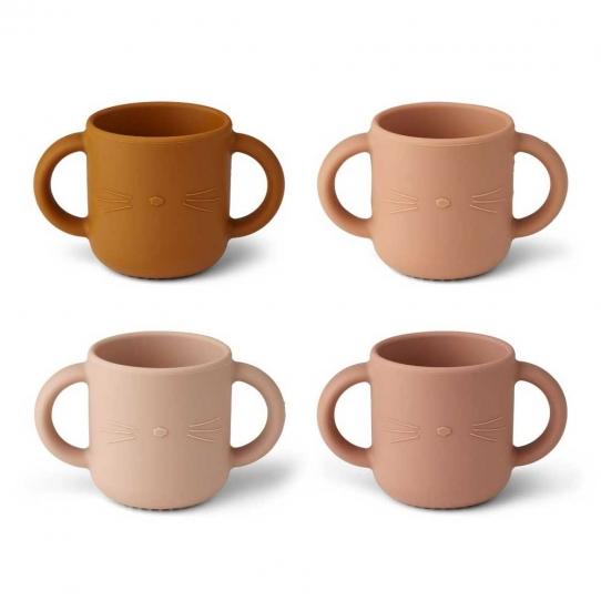 4 Tasses avec anses Gene - Chat rose