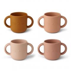 4 Tasses avec anses Gene - Cat rose multi mix