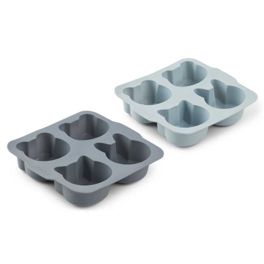 Moules à Gâteaux Mariam en Silicone x2 - Bleu Mix