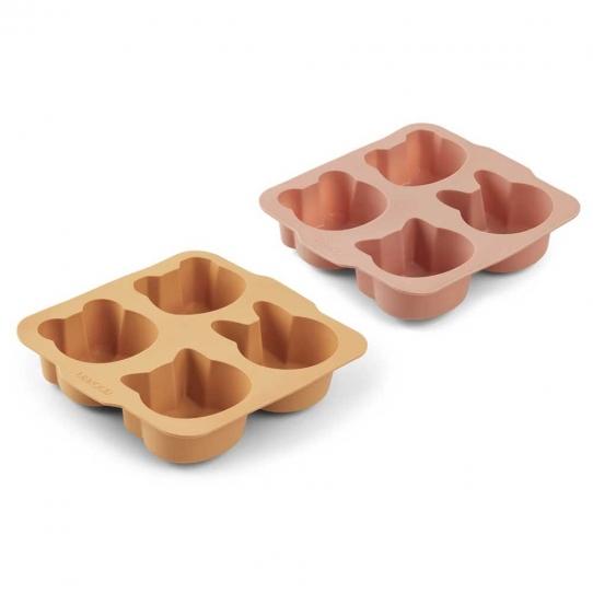 Moules à Gâteaux Mariam en Silicone x2 - Jaune et rose
