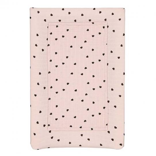 Housse de matelas à langer Fanny - Cœur light pink