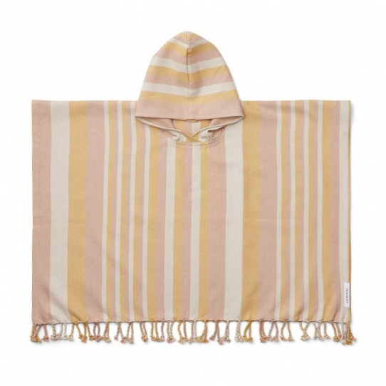 Poncho Roomie - Peach rayé sandy et yellow mellow