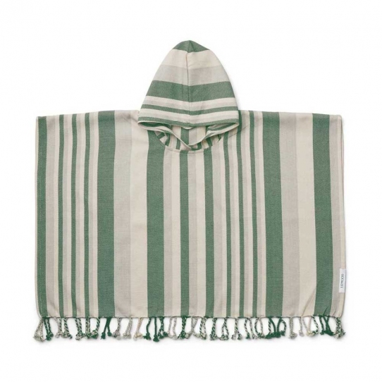 Poncho Roomie - Garden green rayé sandy et dove blue