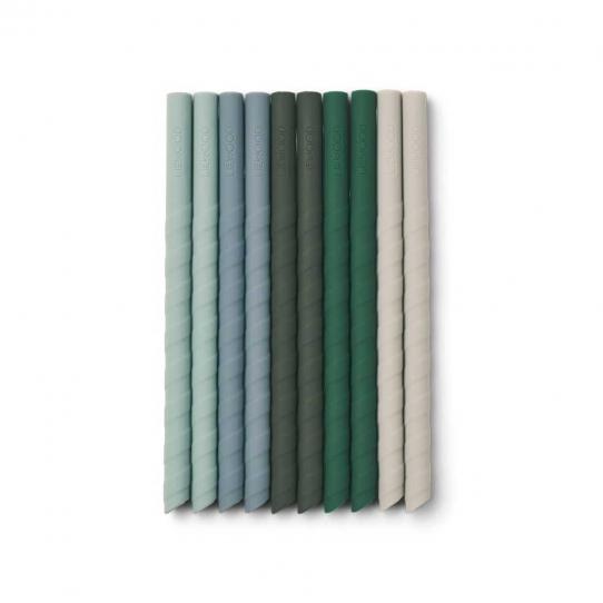 Paille en silicone Timoti - Mix green