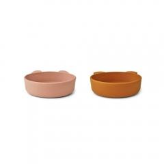 2 bols en silicone Vanessa - Dark rose et mustard
