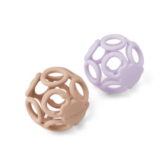 2 Balles de dentition Jasmin - Light lavender et rose