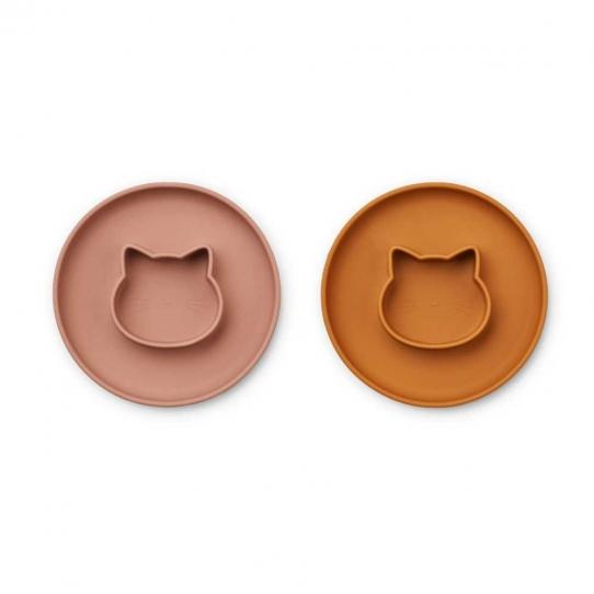 Assiette en silicone Gordon x 2 - Cat dark rose mustard