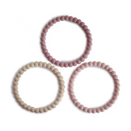 Bracelets de dentition Perle - Linen, peony, pale pink