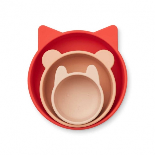 3 bols en silicone Eddie - Apple red et rose