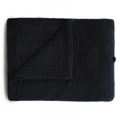 Couverture tricotée - Dots dark navy