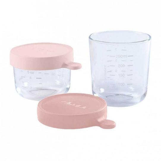 2 pots en verre 150ml et 250ml - Pink et old pink
