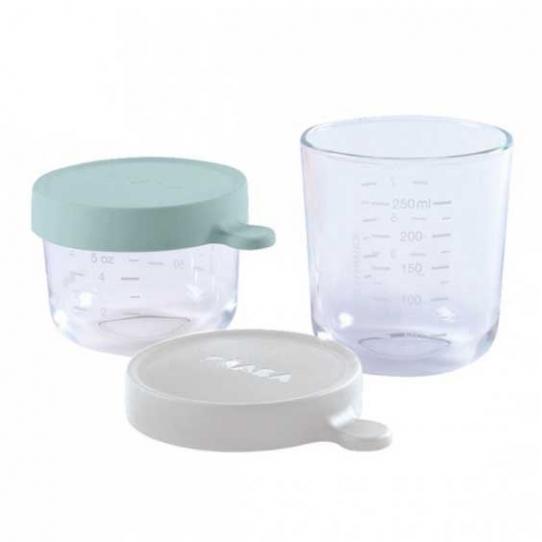 2 pots en verre 150 et 250ml - Airy green et gris clair