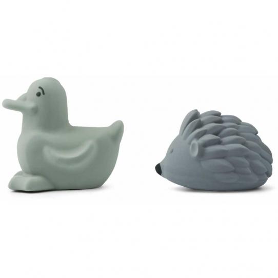 Jouet pour le bain Henrik x2 - Peppermint & whale blue