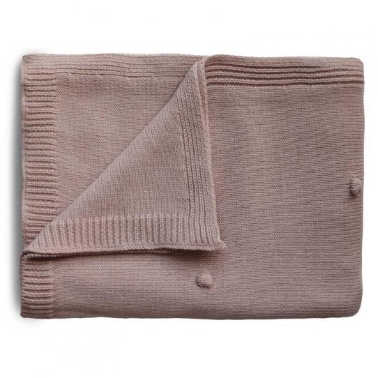 Couverture tricotée - Dots blush