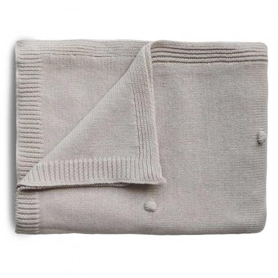 Couverture tricotée - Dots off white