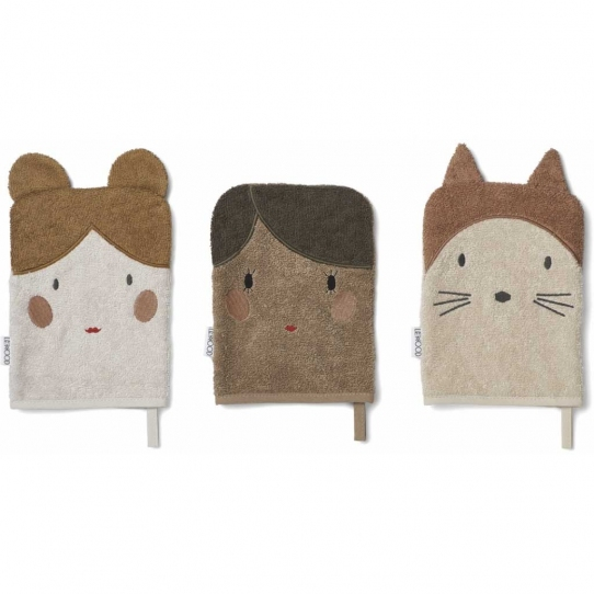 3 gants de toilette Sylvester - Doll sandy
